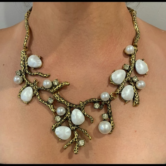 Handmade Beaded Necklace in Antique Gold